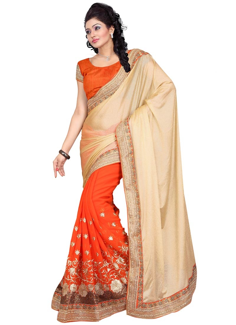Festal Resham Work Faux Georgette Party Wear Saree