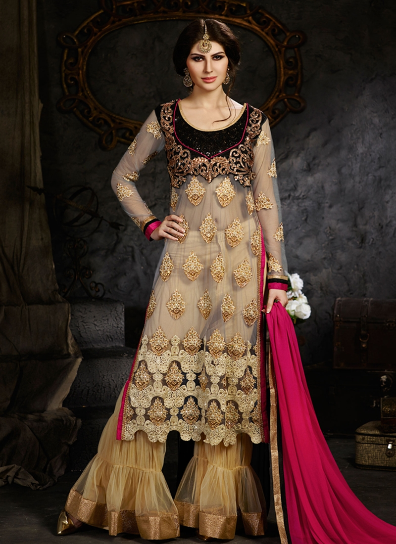 Festal Sequins Work Palazzo Style Wedding Suit
