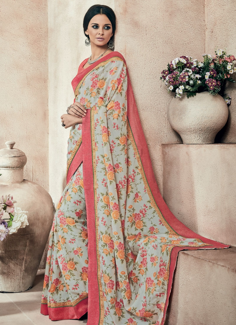 Fetching Art Silk Lace Work Party Wear Saree