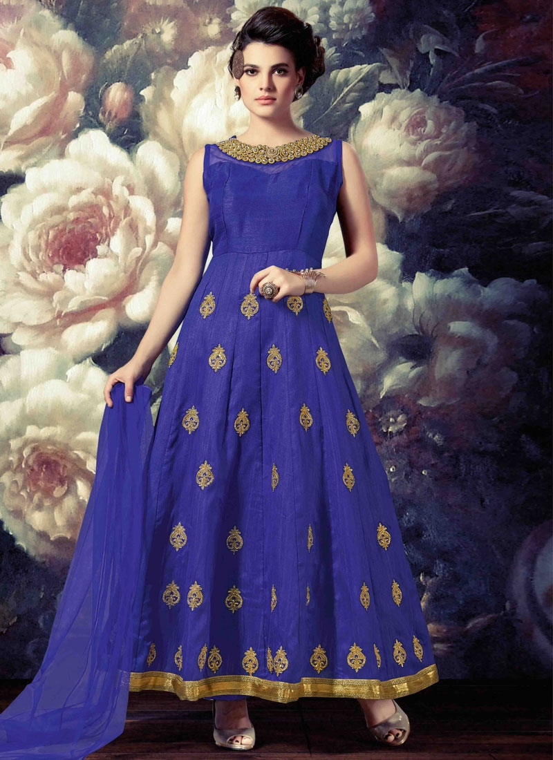 Fetching Banarasi Silk Readymade Anarkali Salwar Suit