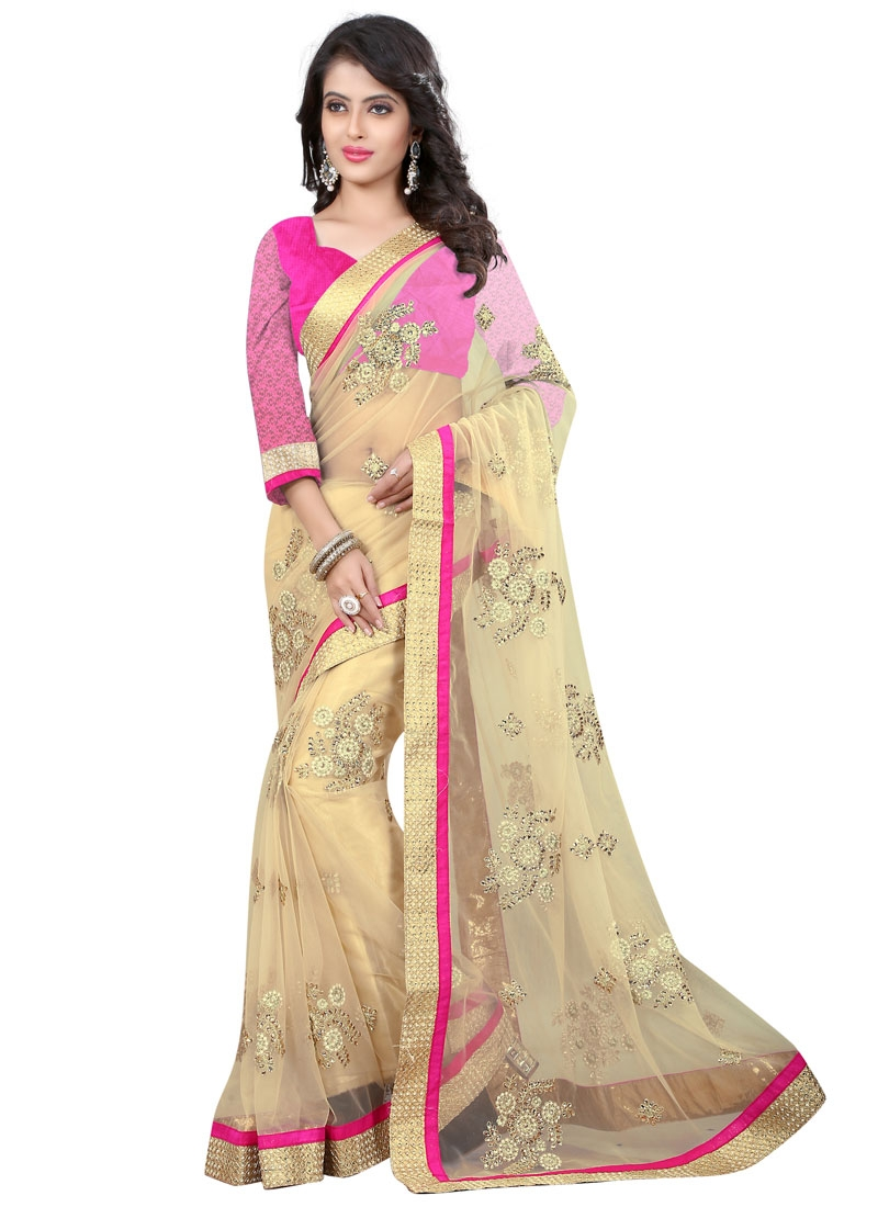 Fetching Beads And Booti Work Net Designer Saree