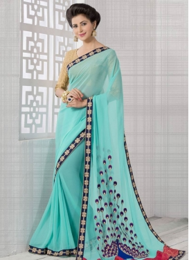 Fetching Beads Work Turquoise Color Party Wear Saree