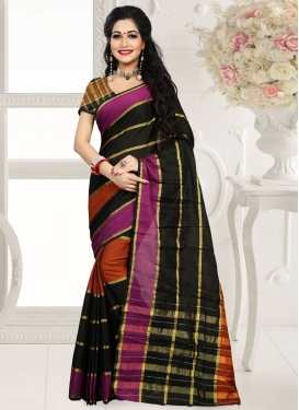 Fetching Black Color Cotton Silk Casual Saree