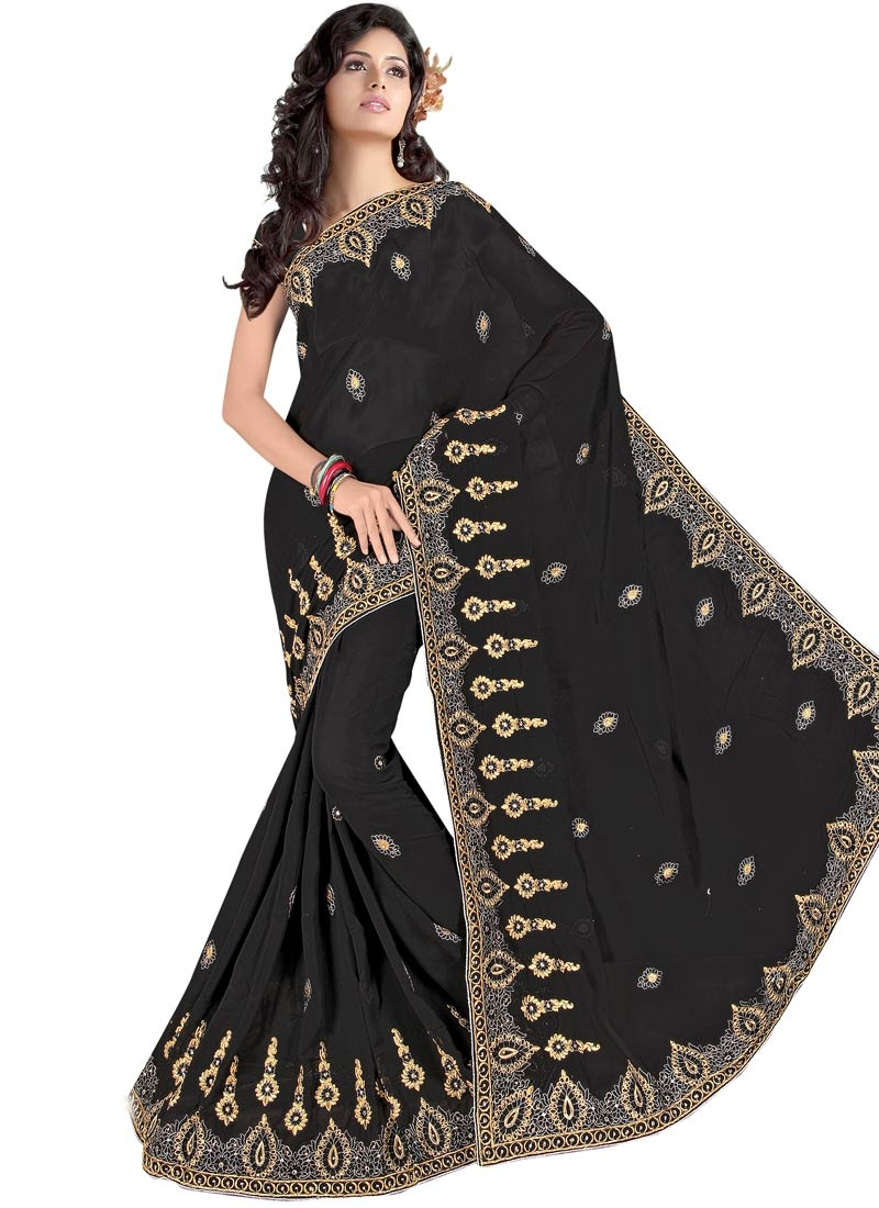 Fetching Black Color Faux Georgette Party Wear Saree