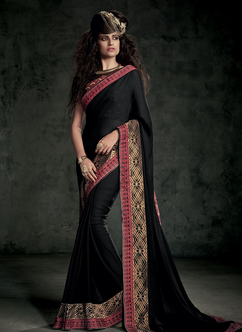 Fetching Black Color Jacquard Party Wear Saree