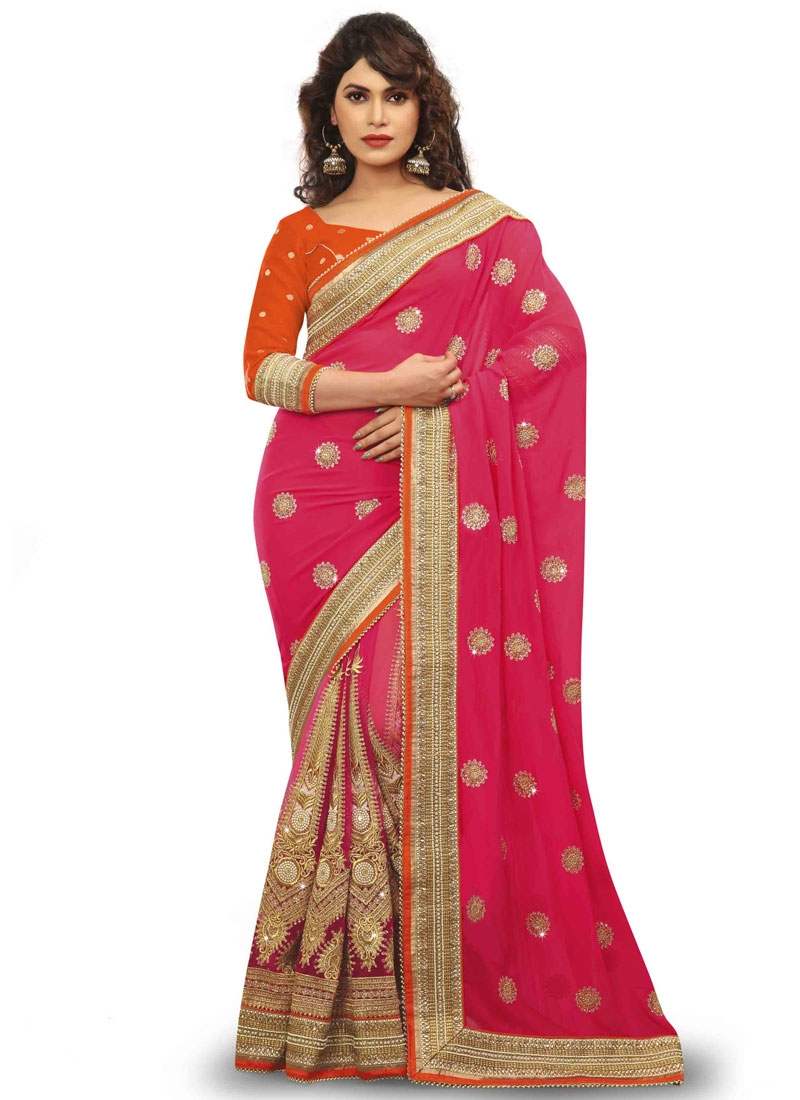 Fetching Booti And Stone Work Wedding Saree