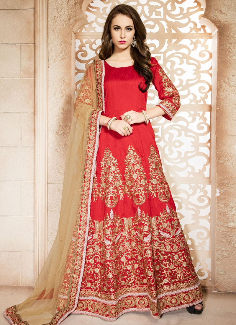 Fetching Booti Work Banglori Silk Ankle Length Wedding Suit