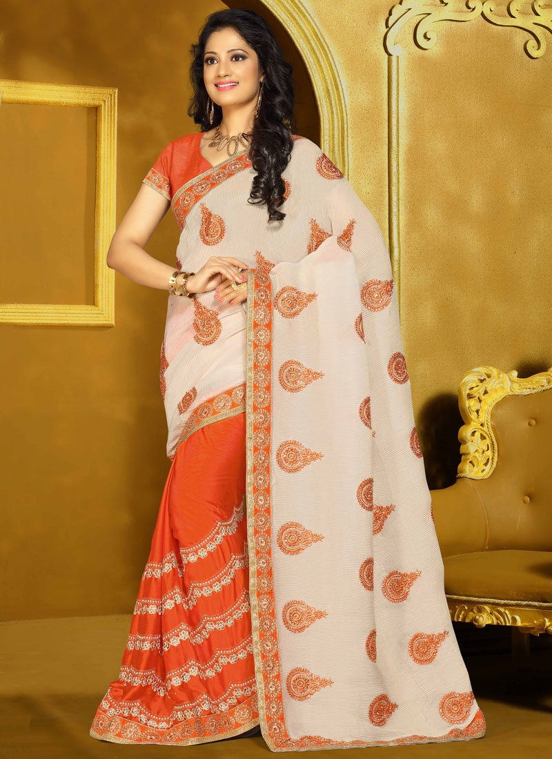 Fetching Booti Work Crush Half N Half Designer Saree