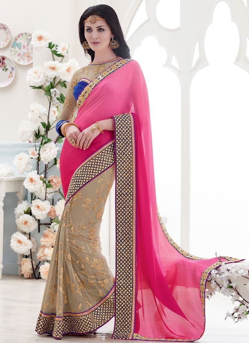 Fetching Chiffon Satin Beads Work Half N Half Wedding Saree
