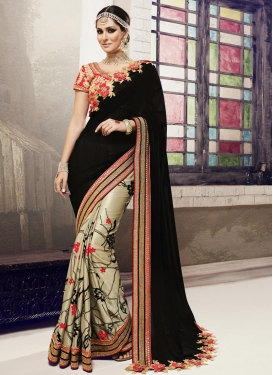 Fetching Chiffon Satin Beige and Black Half N Half Designer Saree