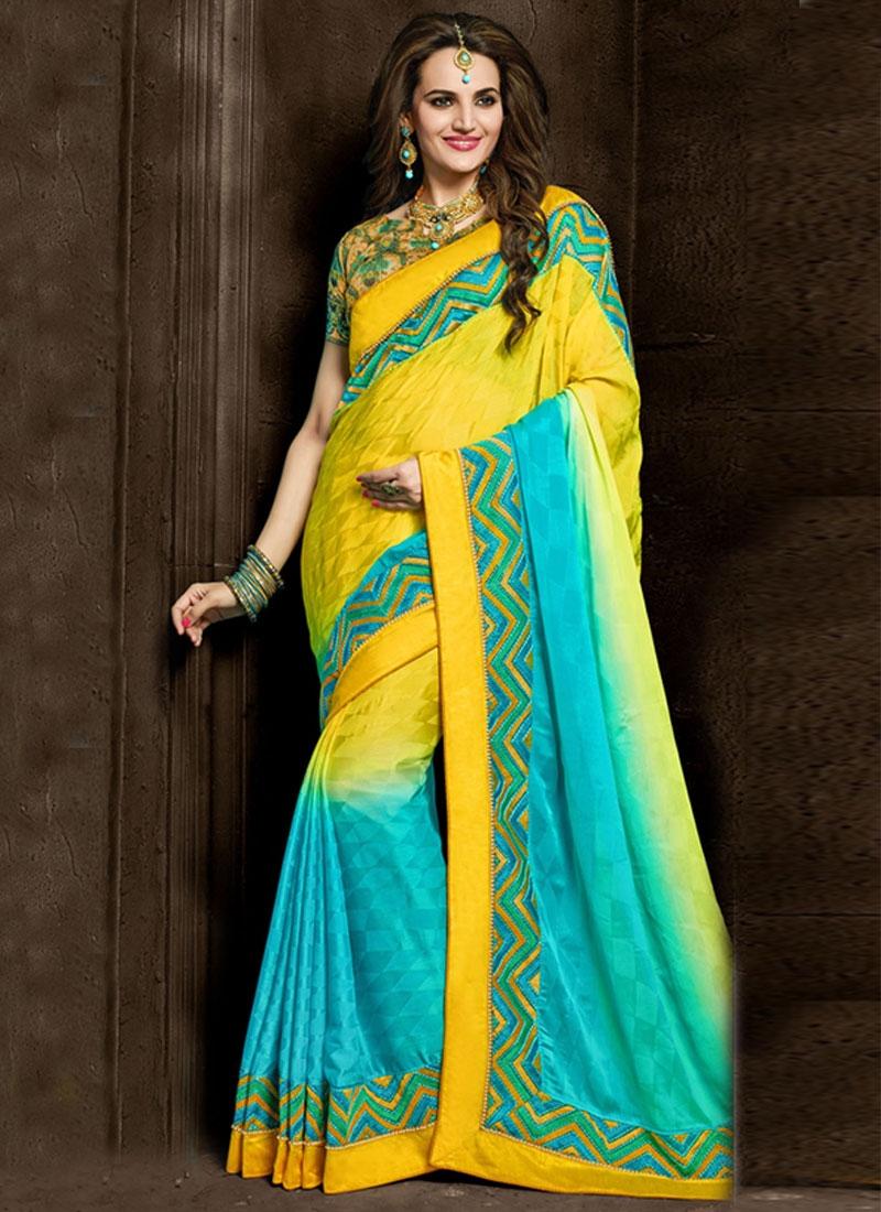 Fetching Crepe Silk Lace Work Designer Saree