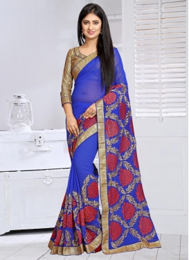 Fetching Embroidered Work Faux Georgette Classic Saree For Ceremonial