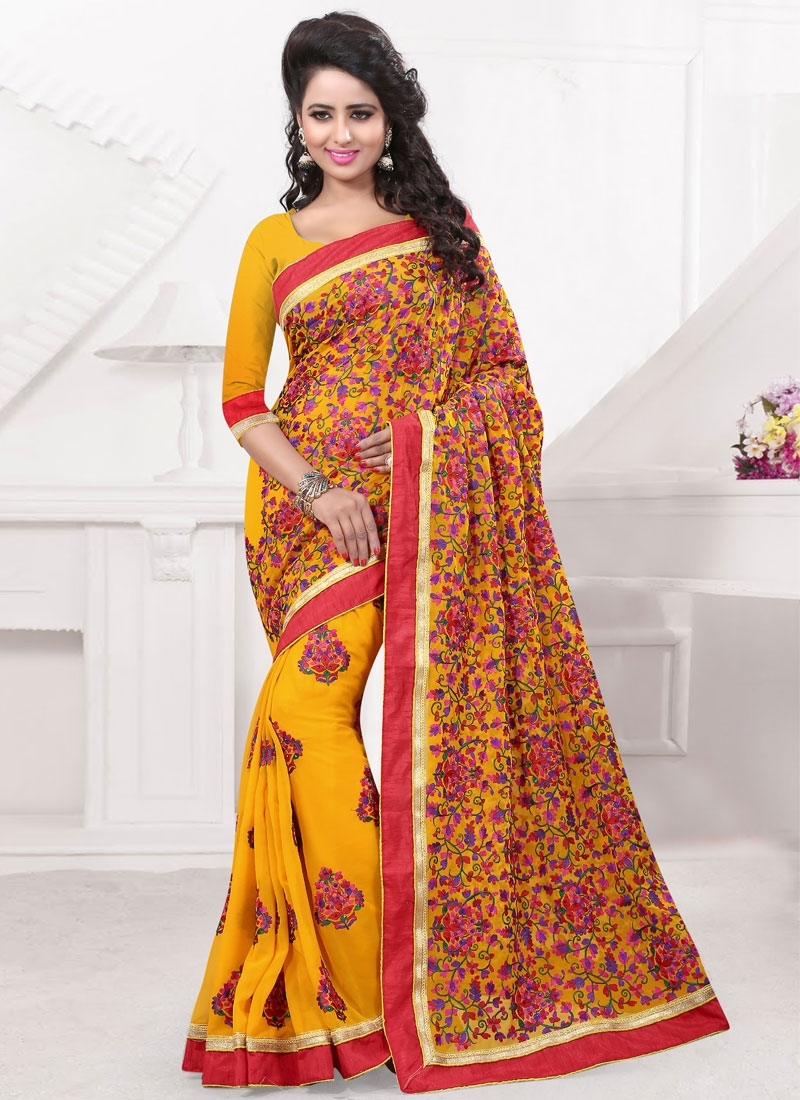 Fetching Embroidery And Stone Work Wedding Saree