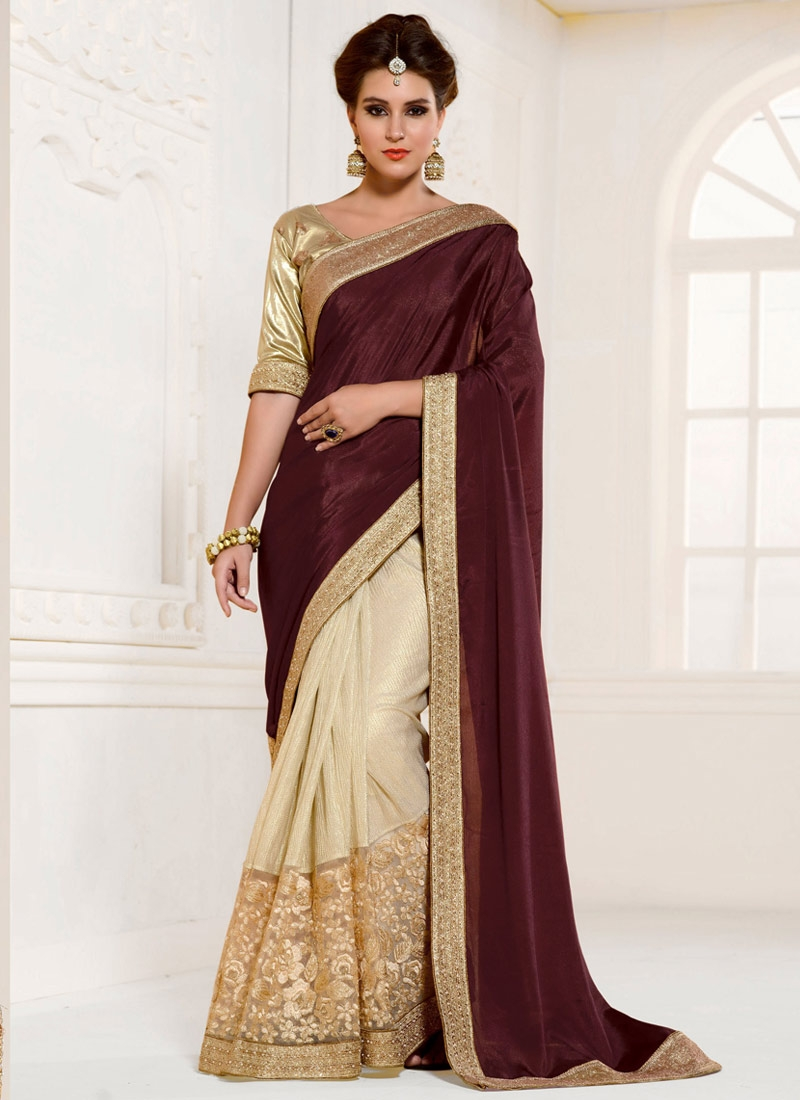 Fetching Embroidery Work Half N Half Designer Saree