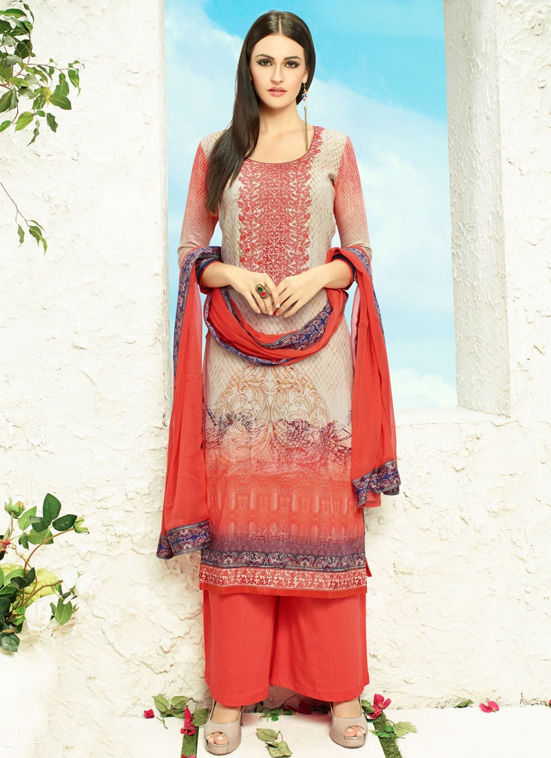 Fetching Embroidery Work Palazzo Style Party Wear Salwar Kameez