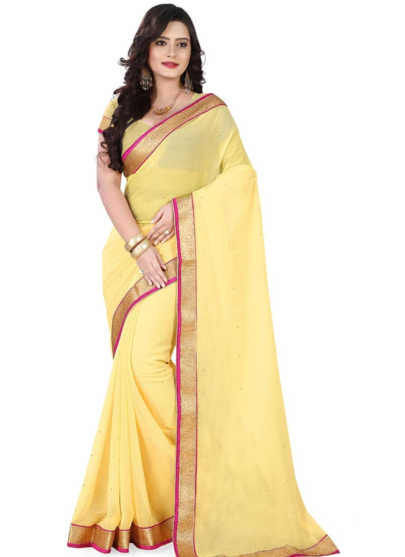 Fetching Faux Chiffon Yellow Color Casual Saree