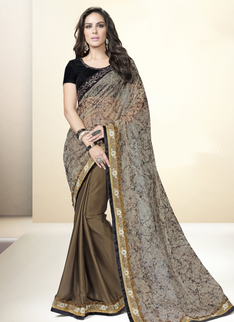 Fetching Faux Georgette And Satin Half N Half Party Wear Saree