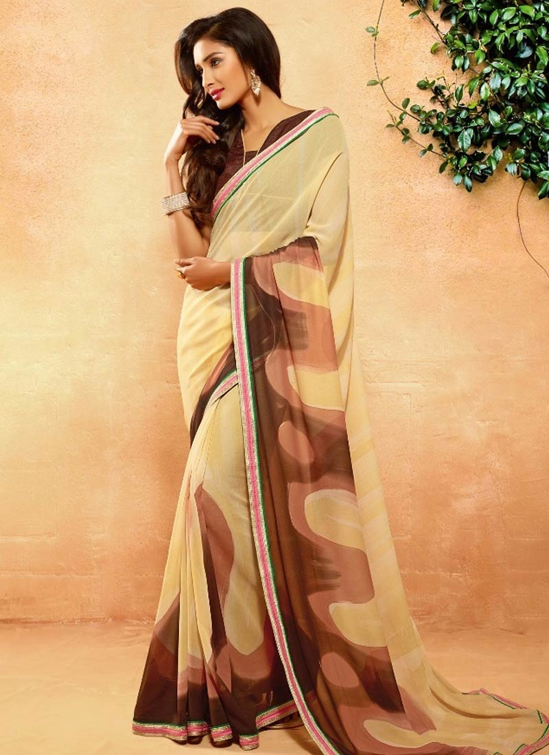 Fetching Faux Georgette Lace Work Casual Saree