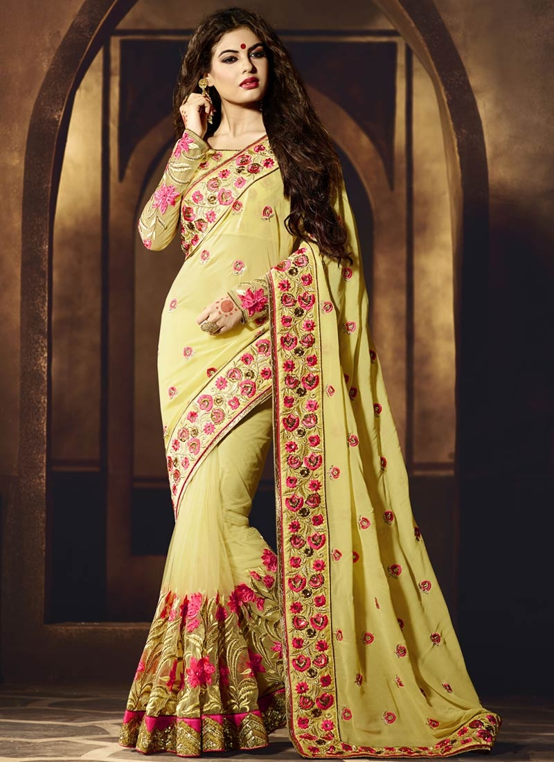 Fetching Floral And Sequins Work Wedding Saree