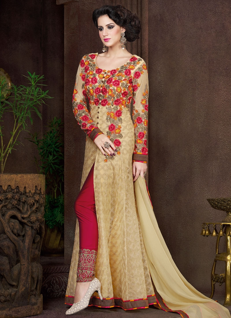 Fetching Floral And Stone Work Pant Style Designer Salwar Suit
