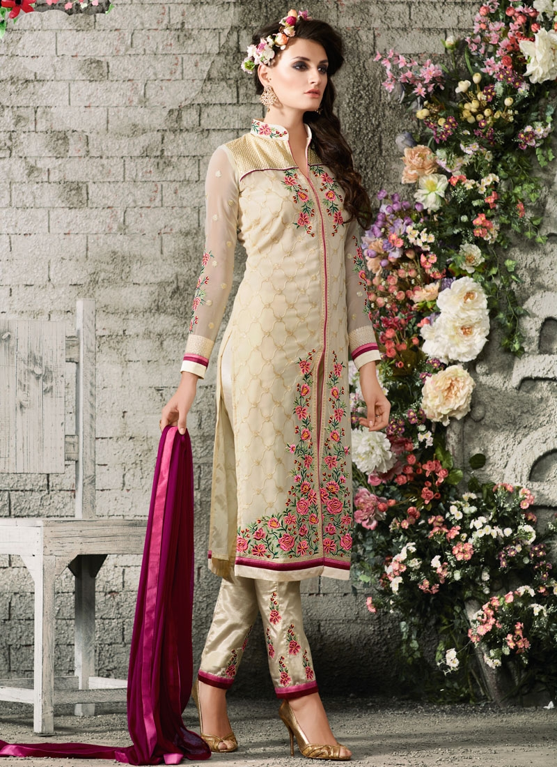 Fetching Floral Work Pant Style Designer Suit