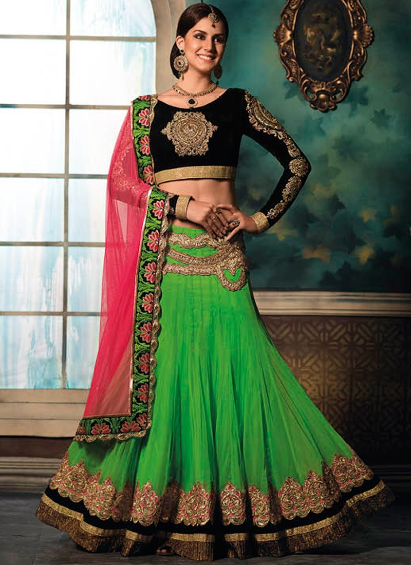 Fetching Green Color Net Wedding Lehenga Choli