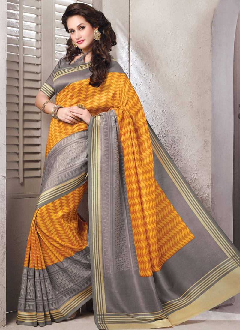 Fetching Grey And Orange Color Art Silk Casual Saree