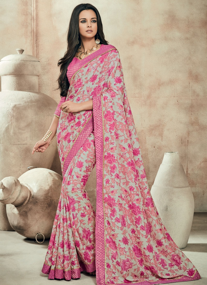 Fetching Hot Pink Color Party Wear Saree