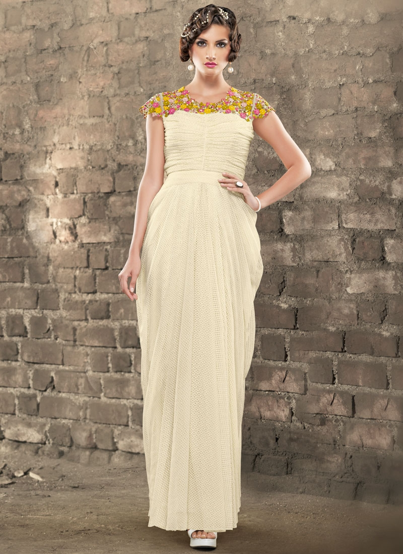 Fetching Jacquard Beads Work Designer Readymade Gown