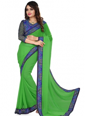 Fetching Lace And Bandhej Print Work Casual Saree