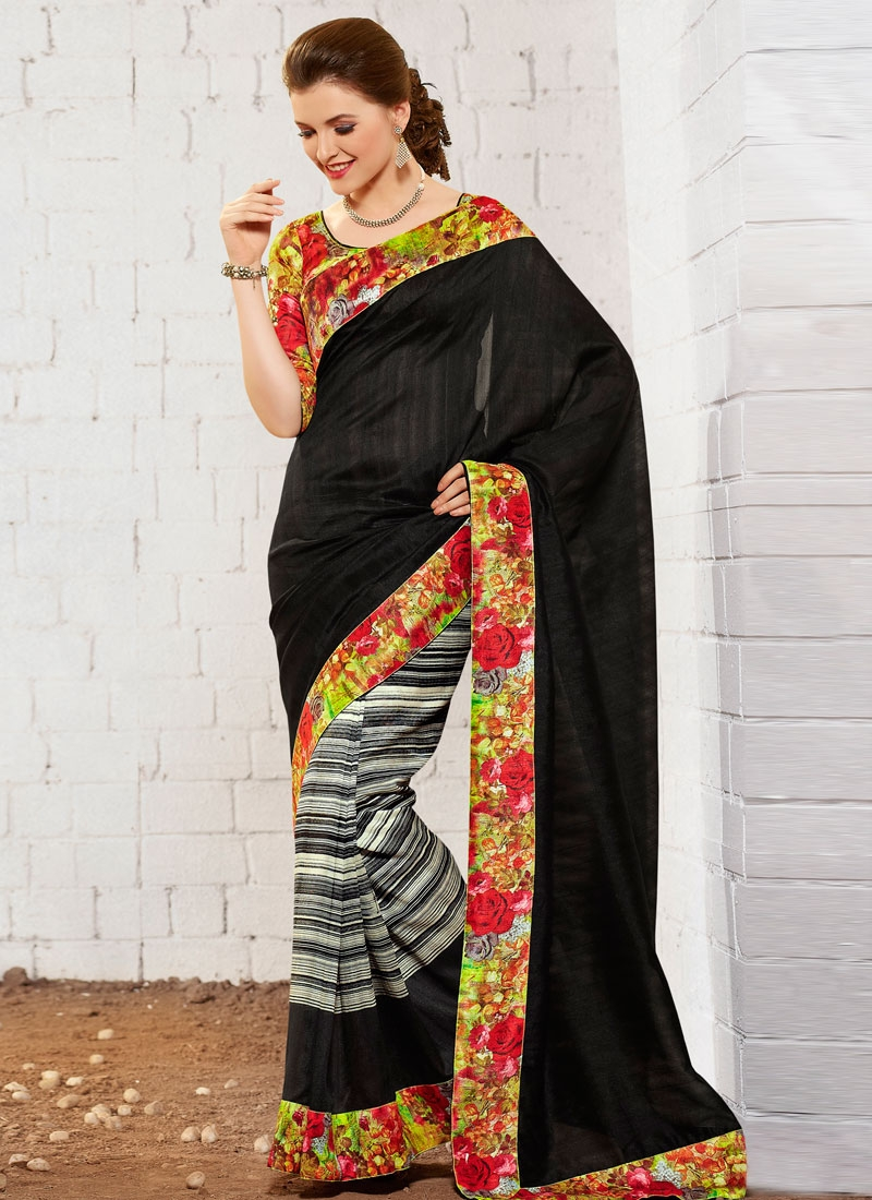 Fetching Lace Work Black Color Casual Saree