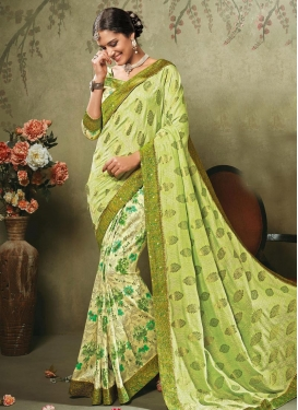 Fetching  Lace Work Contemporary Style Saree
