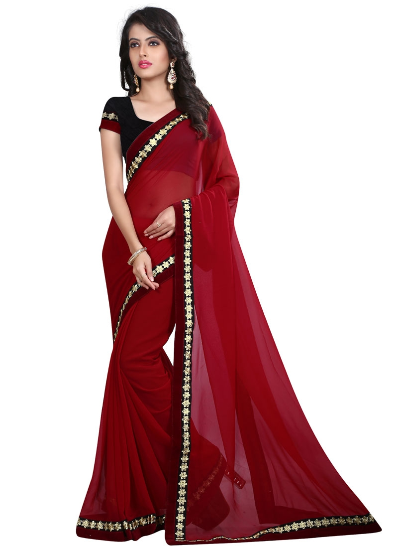 Fetching Lace Work Crimson Color Casual Saree