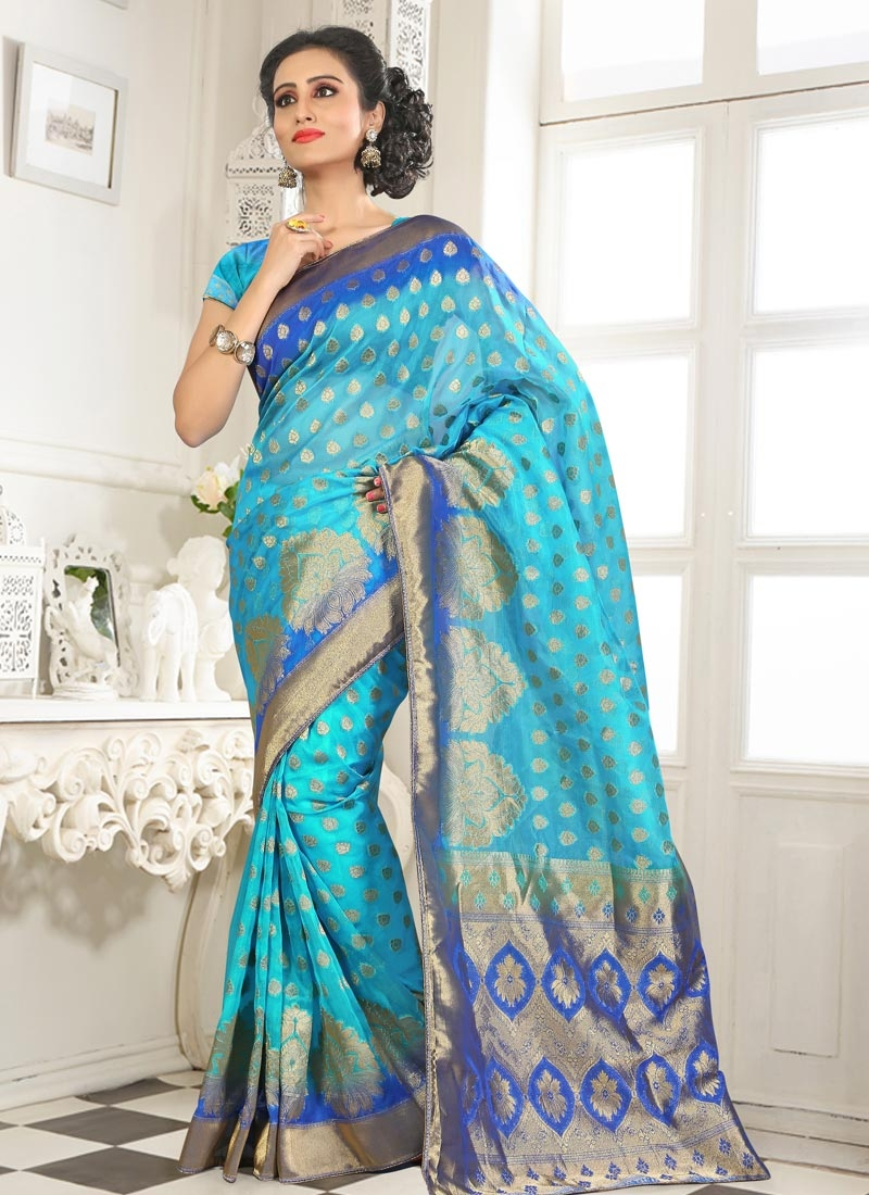 Fetching Light Blue And Blue Color Party Wear Saree