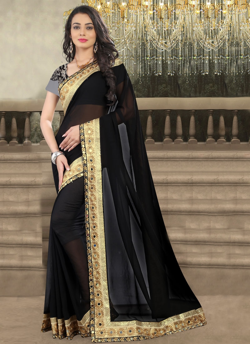 Fetching Mirror Work Black Color Party Wear Saree