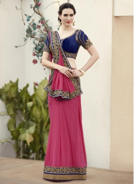 Fetching Navy Blue and Rose Pink Faux Georgette Contemporary Style Saree