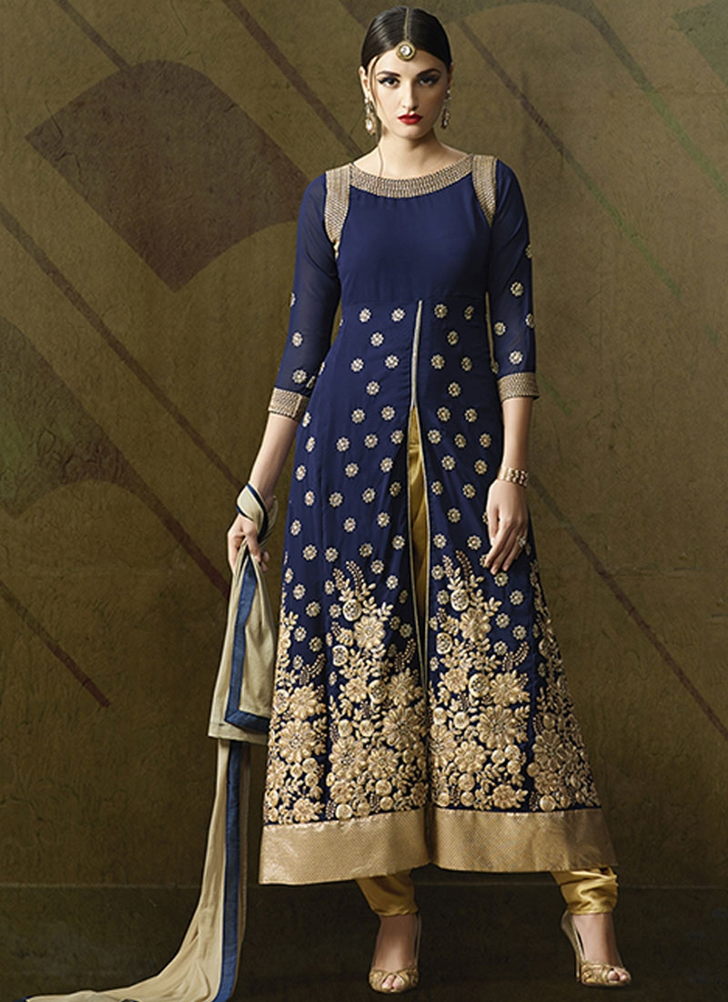 Fetching Navy Blue Color Long Length Designer Suit