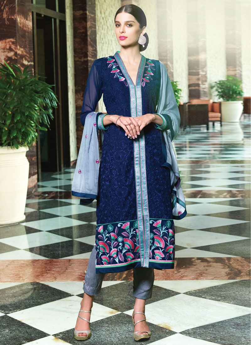 Fetching Navy Blue Color Pant Style Party Wear Suit
