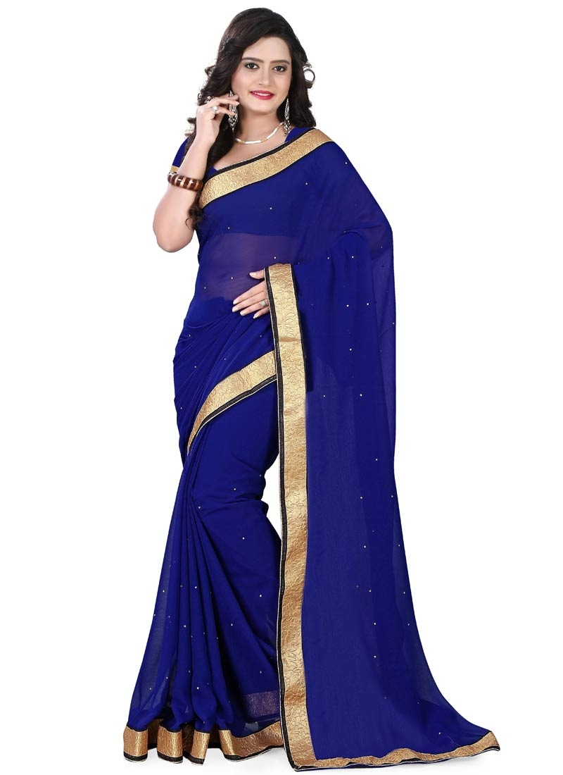 Fetching Navy Blue Color Stone Work Casual Saree