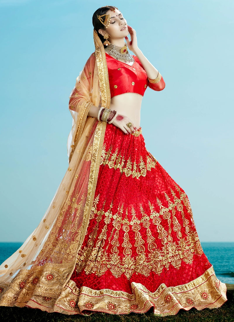 Fetching Patch Border And Stone Work Bridal Lehenga Choli