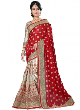 Fetching Patch Border And Stone Work Half N Half Bridal Saree