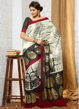 Fetching Printed Off White And Black Color Art Silk Casual Saree
