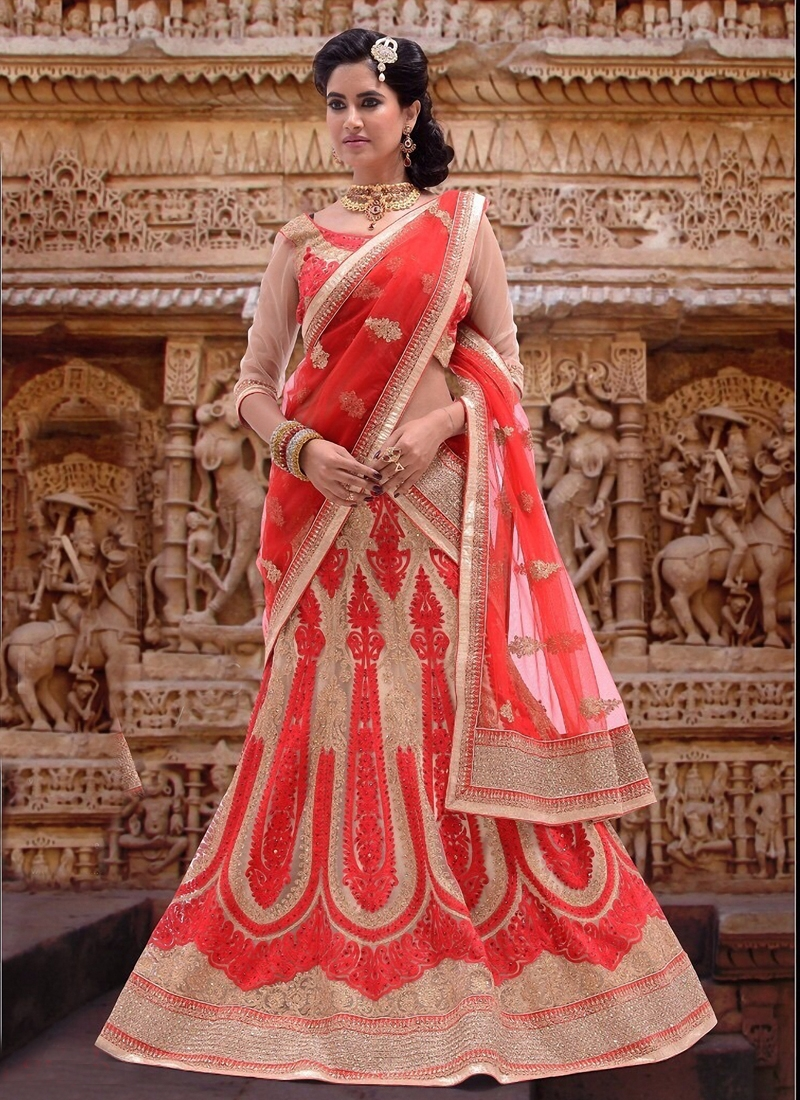 Fetching Red And Cream Color Bridal Lehenga Choli