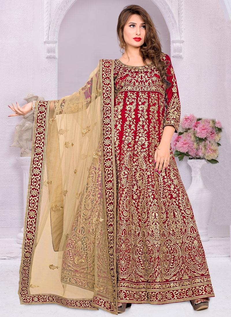 Fetching Red Color Banglori Silk Long Length Anarkali Salwar Kameez