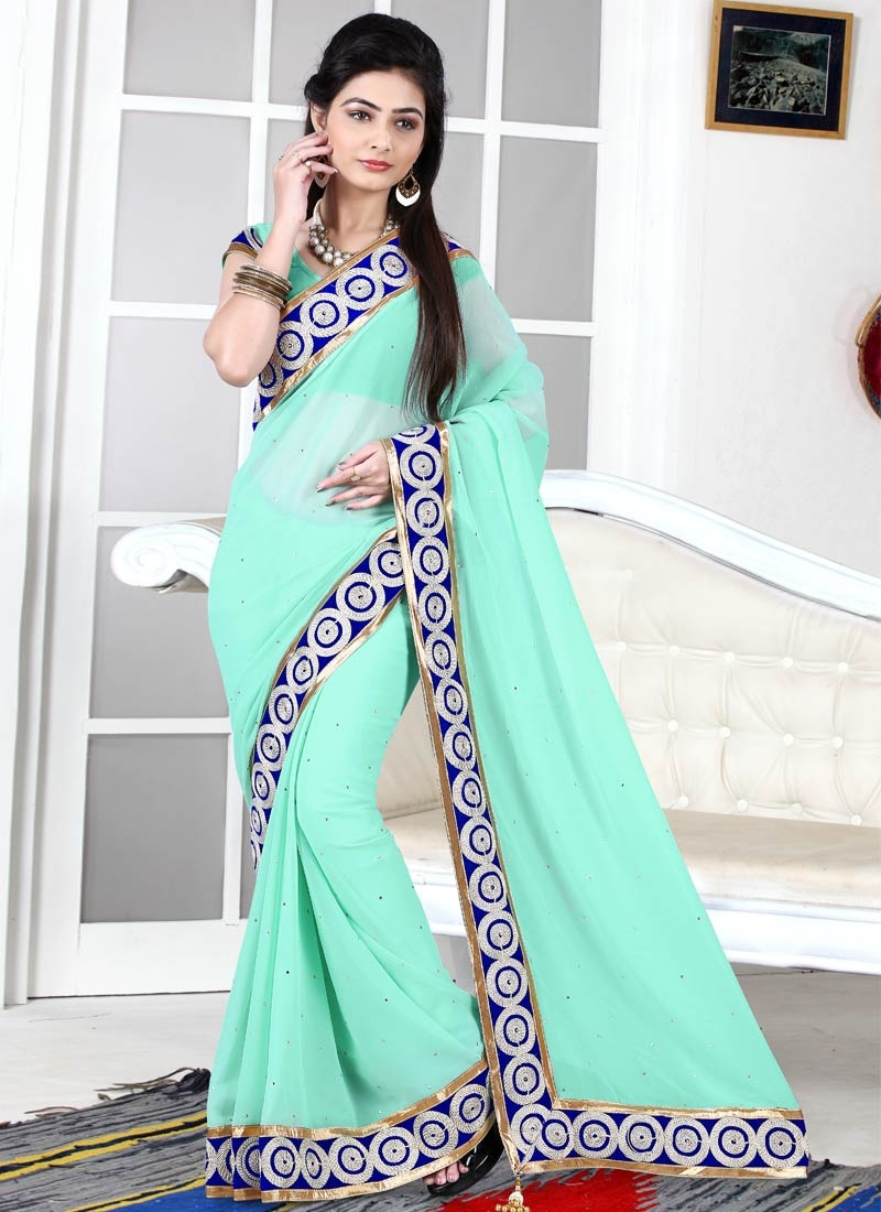 Fetching Resham And Stone Work Casual Saree