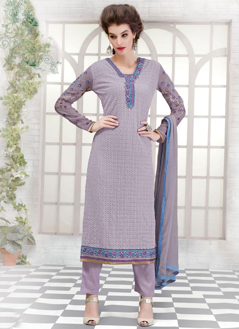 Fetching Resham Work Faux Georgette Pant Style Pakistan Salwar Suit