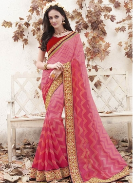 Fetching Resham Work Salmon Color Party Wear Saree