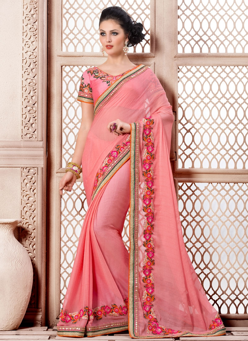 Fetching Salmon Color Viscose Party Wear Saree