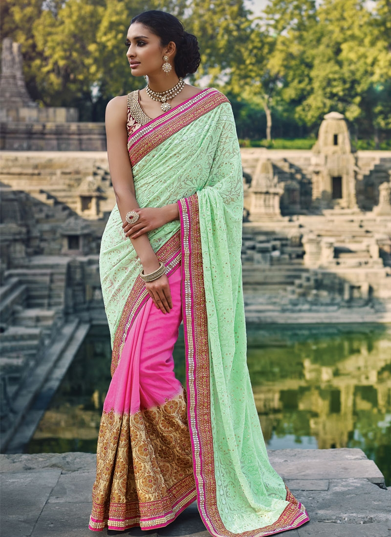 Fetching Stone Work Mint Green Color Half N Half Wedding Saree