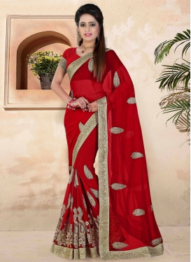 Fetching Stone Work Red Color Designer Saree